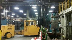 Setting of 40k lb. die sets in press